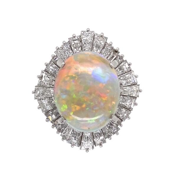 Closeup photo of Platinum 5.82ct Australian White Opal & 2.81tcw diamond Ballerina Ring c1960's, s6.25
