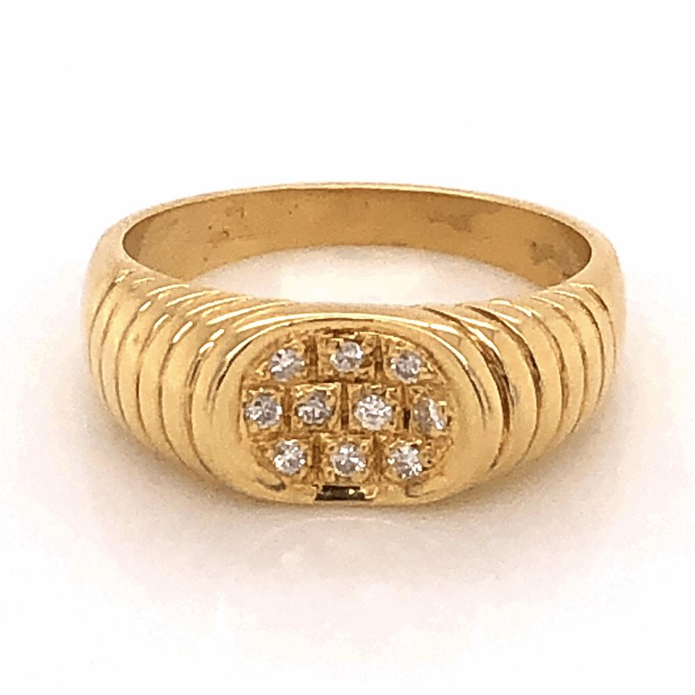 18K Yellow Gold .16tcw Diamond Ribbed Saddle Ring, s7.5
