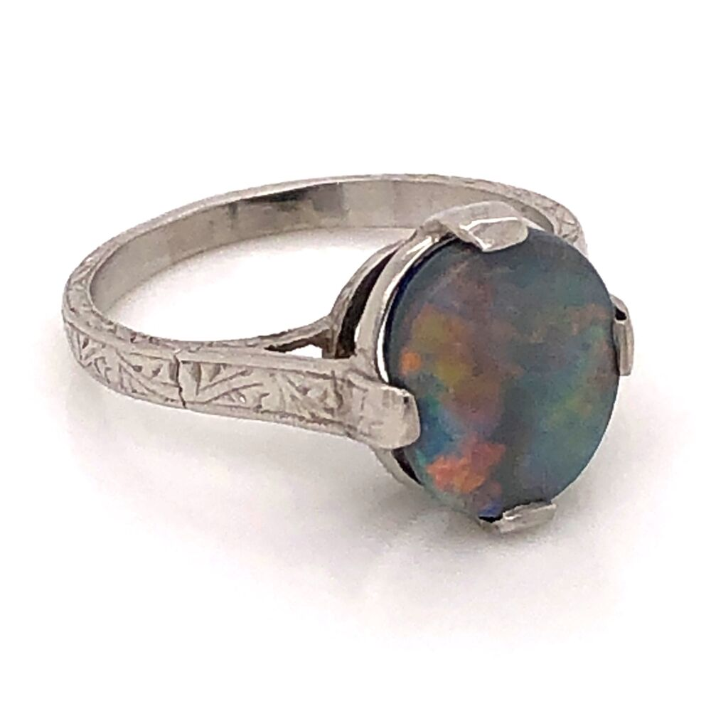 Image 2 for Platinum Art Deco 2.50ct Dark Gray Australian Opal engraved ring, c1930's s6