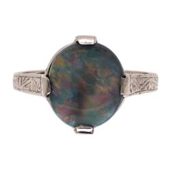 Closeup photo of Platinum Art Deco 2.50ct Dark Gray Australian Opal engraved ring, c1930's s6