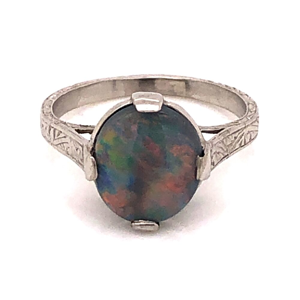 Platinum Art Deco 2.50ct Dark Gray Australian Opal engraved ring, c1930's s6