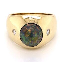 Closeup photo of 18K Yellow Gold 2.25ct Black Australian Opal & .16ctw diamond Ring