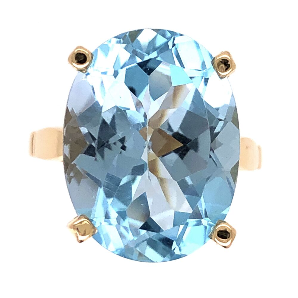 14K Yellow Gold 20ct Oval Blue Topaz Solitaire Ring 6.6g, s6.5