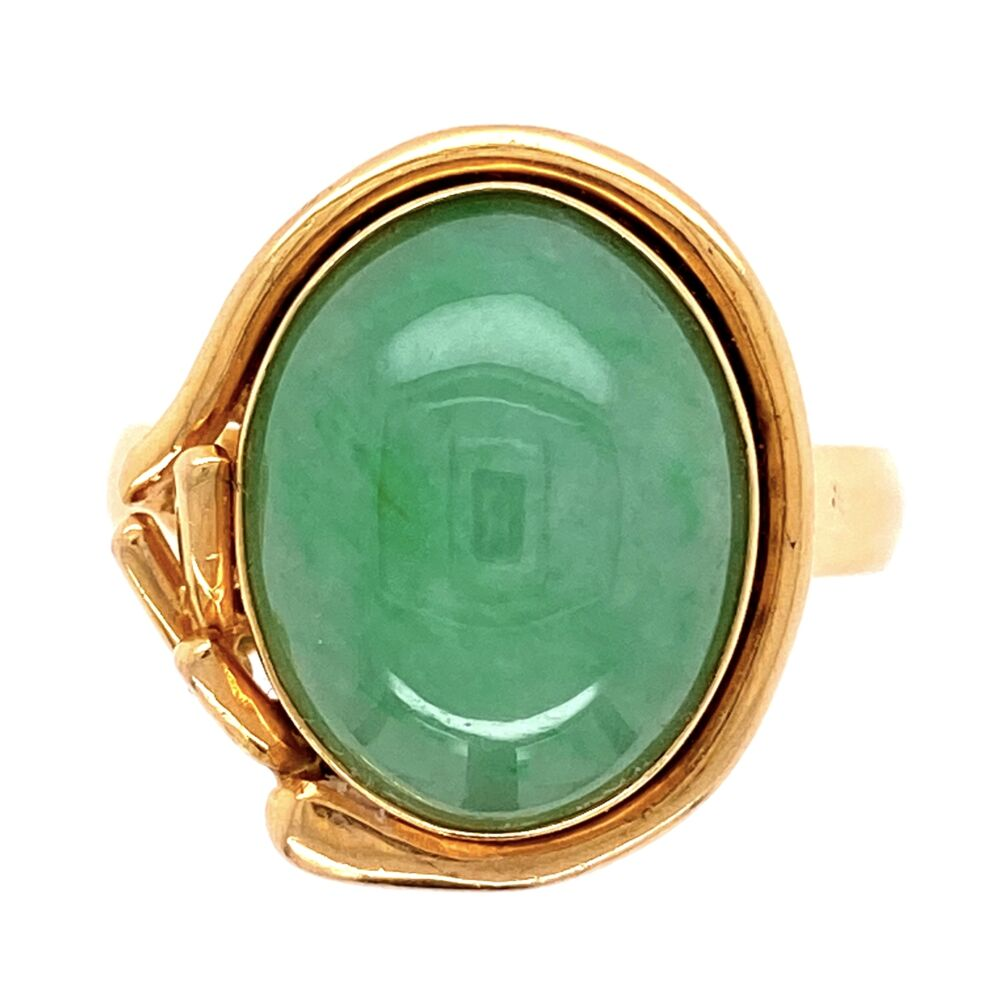 18K Yellow Gold Jadeite Jade Ring 7.2g, s7
