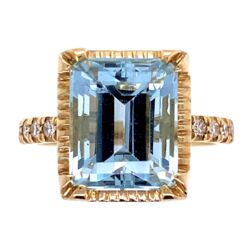 Closeup photo of 14K Yellow Gold 5.41ct Emerald Cut Aquamarine & .17tcw Diamond Ring