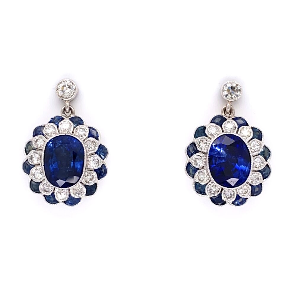 """18K White Gold 2 Sapphire 3.33tcw Earrings with .55tcw Diamonds & 1.15tw Sapphires 5/8"""" tall"""