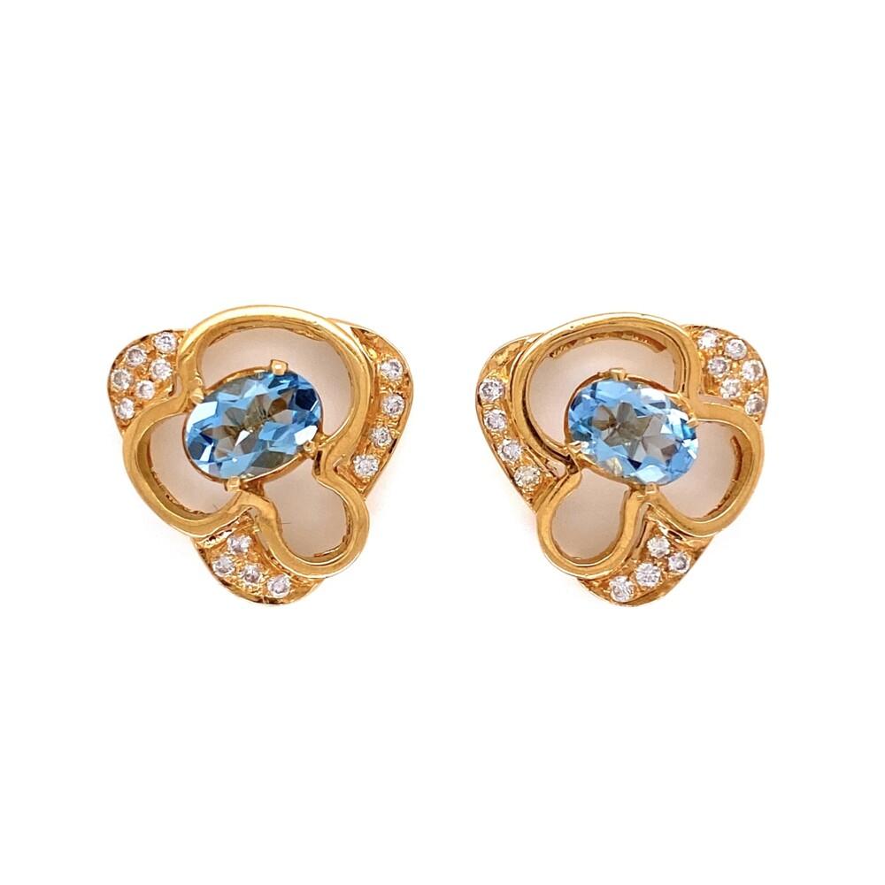 Image 2 for 14K Yellow Gold Oval .90tcw Oval Aquamarine & .25tcw Diamond Earrings 5.3g
