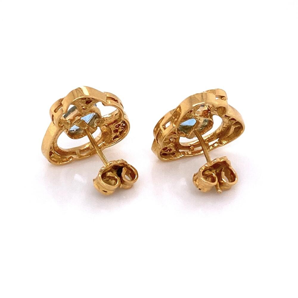 14K Yellow Gold Oval .90tcw Oval Aquamarine & .25tcw Diamond Earrings 5.3g
