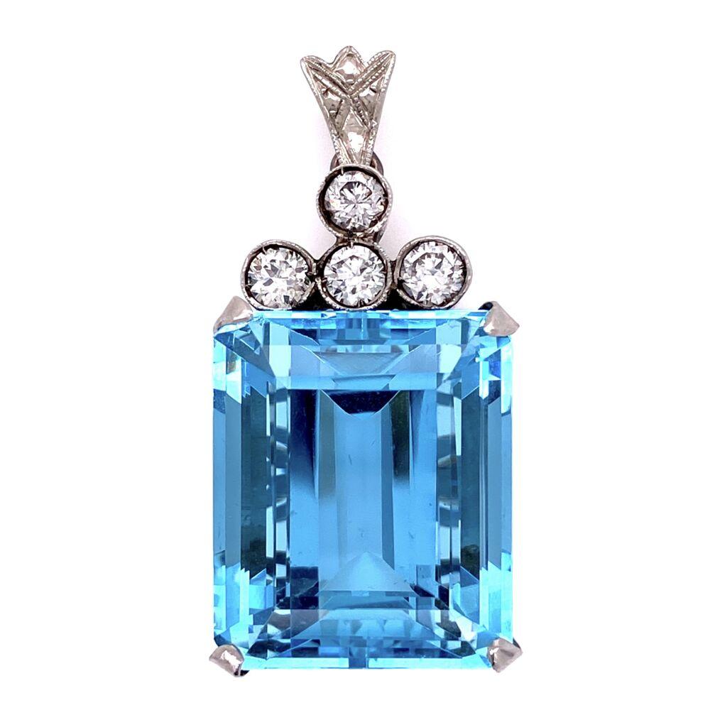 "Platinum 1950's 30ct Aquamarine Pendant with .75tcw diamonds 14.2g 1.5"" tall"
