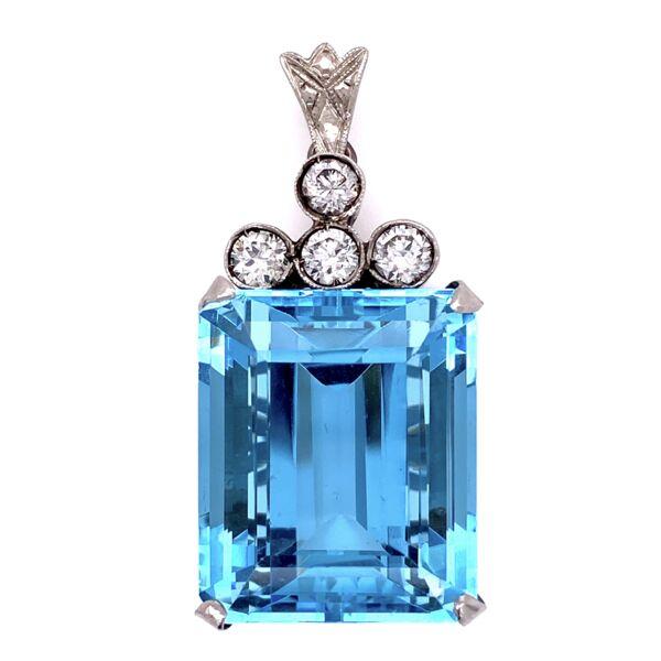 "Closeup photo of Platinum 1950's 30ct Aquamarine Pendant with .75tcw diamonds 14.2g 1.5"" tall"