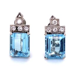 "Closeup photo of Platinum 1950's 8.00cw Aquamarine Earrings .50tcw diamonds 8.0g, 0.8"" tall"