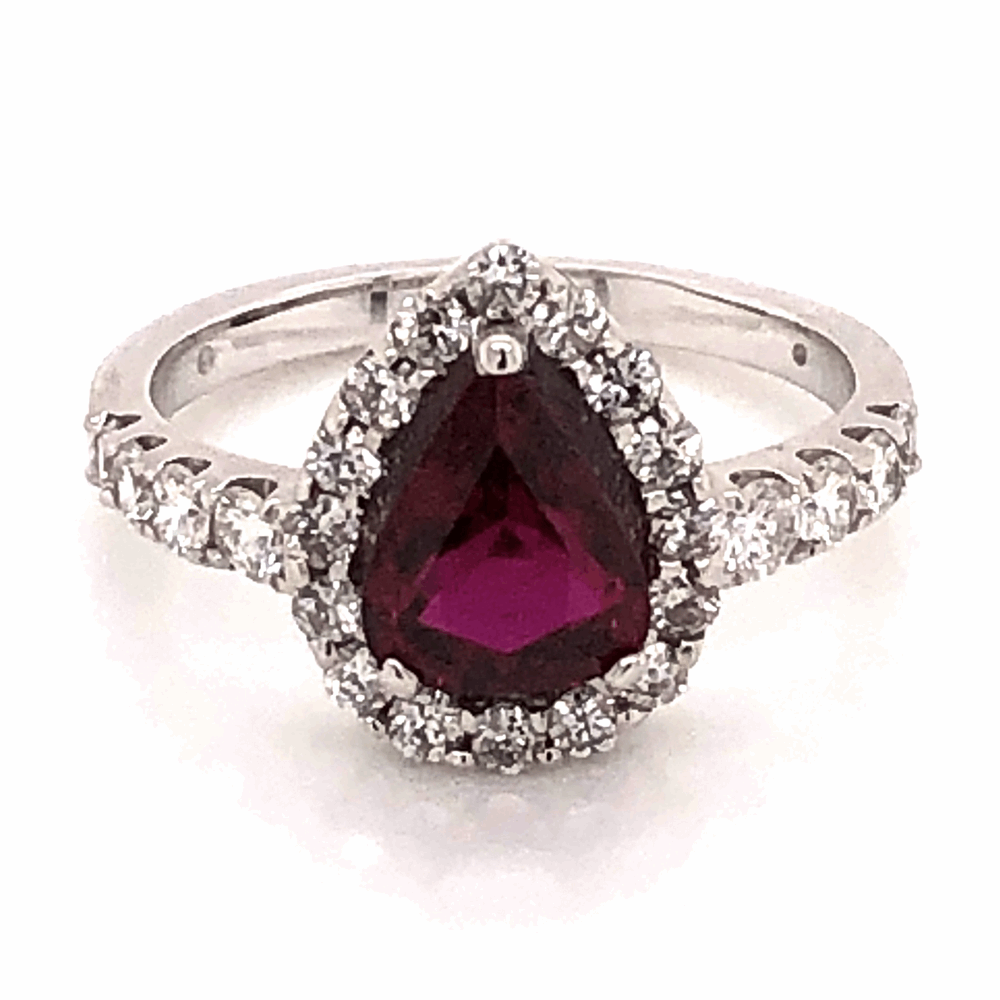 Platinum 1.64ct Pear shape Ruby and .80tcw diamond Ring c1950 s6.75