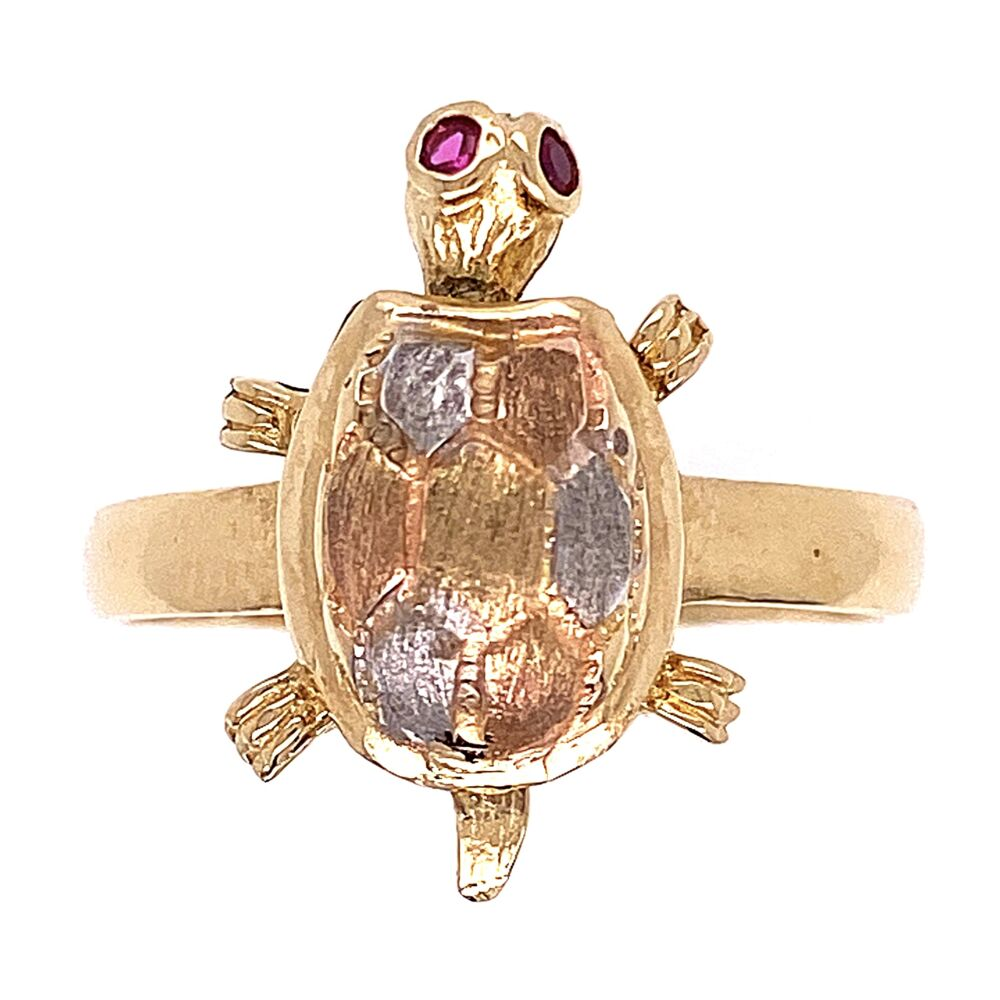 14K Tri Color Gold Turtle Ring with Articulating  head, 3.7g s7