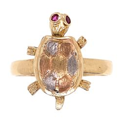 Closeup photo of 14K Tri Color Gold Turtle Ring with Articulating  head, 3.7g s7