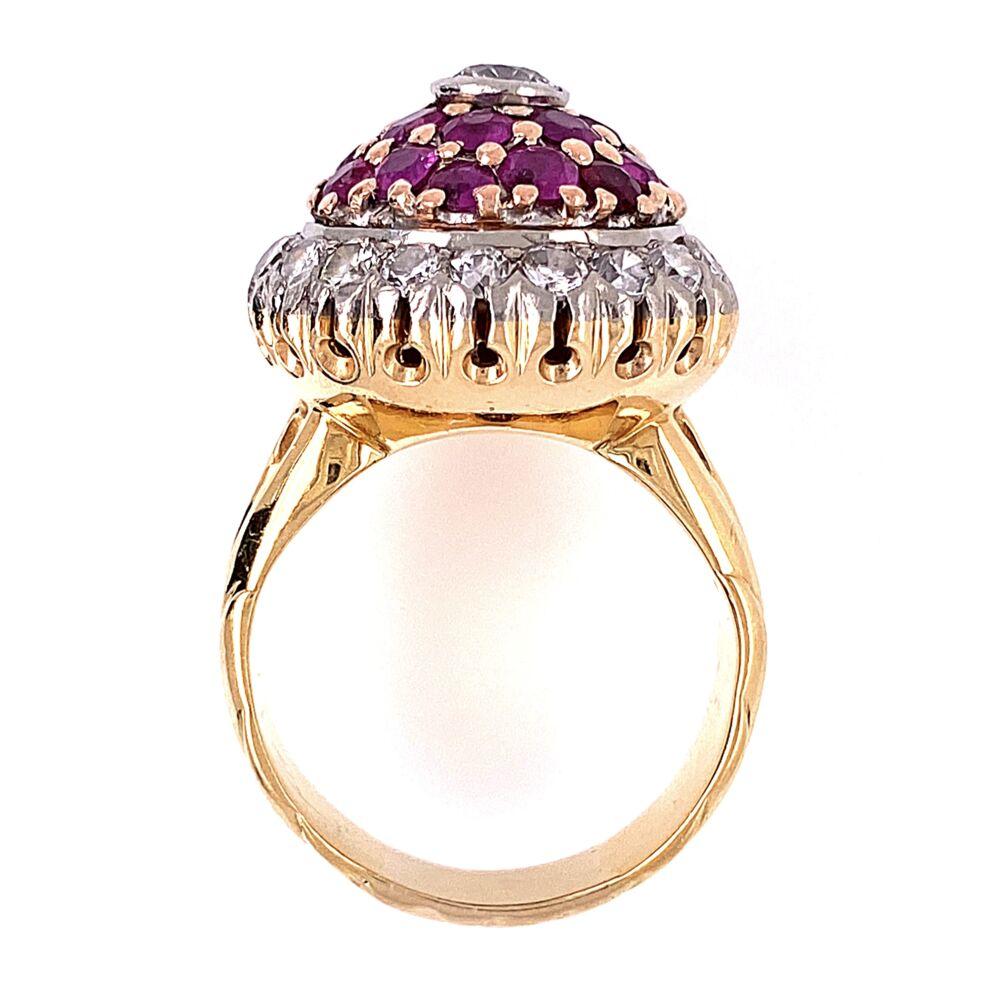 Image 2 for 18K Yellow Gold Palladium Topped Bombay Ring 1.50tcw Diamonds & 1.20tcw Rubies, s6.75