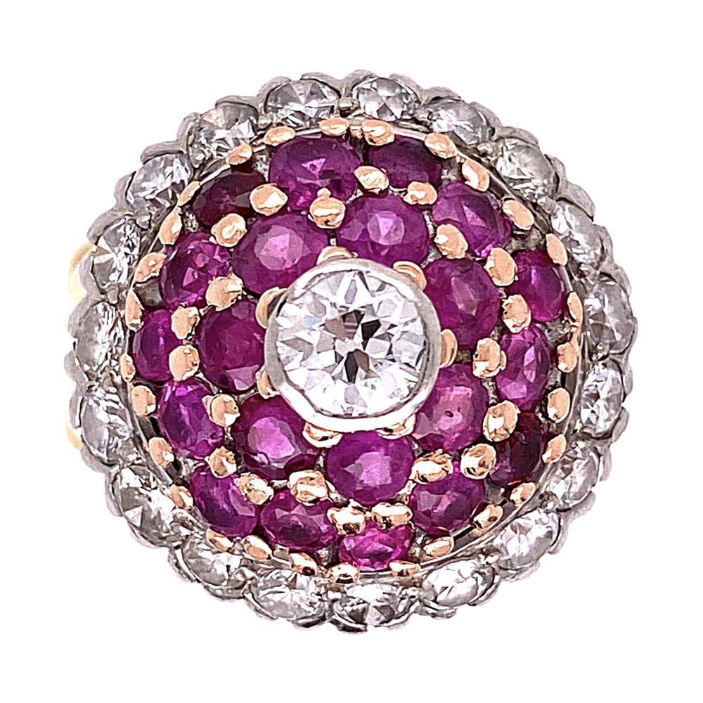 18K Yellow Gold Palladium Topped Bombay Ring 1.50tcw Diamonds & 1.20tcw Rubies, s6.75