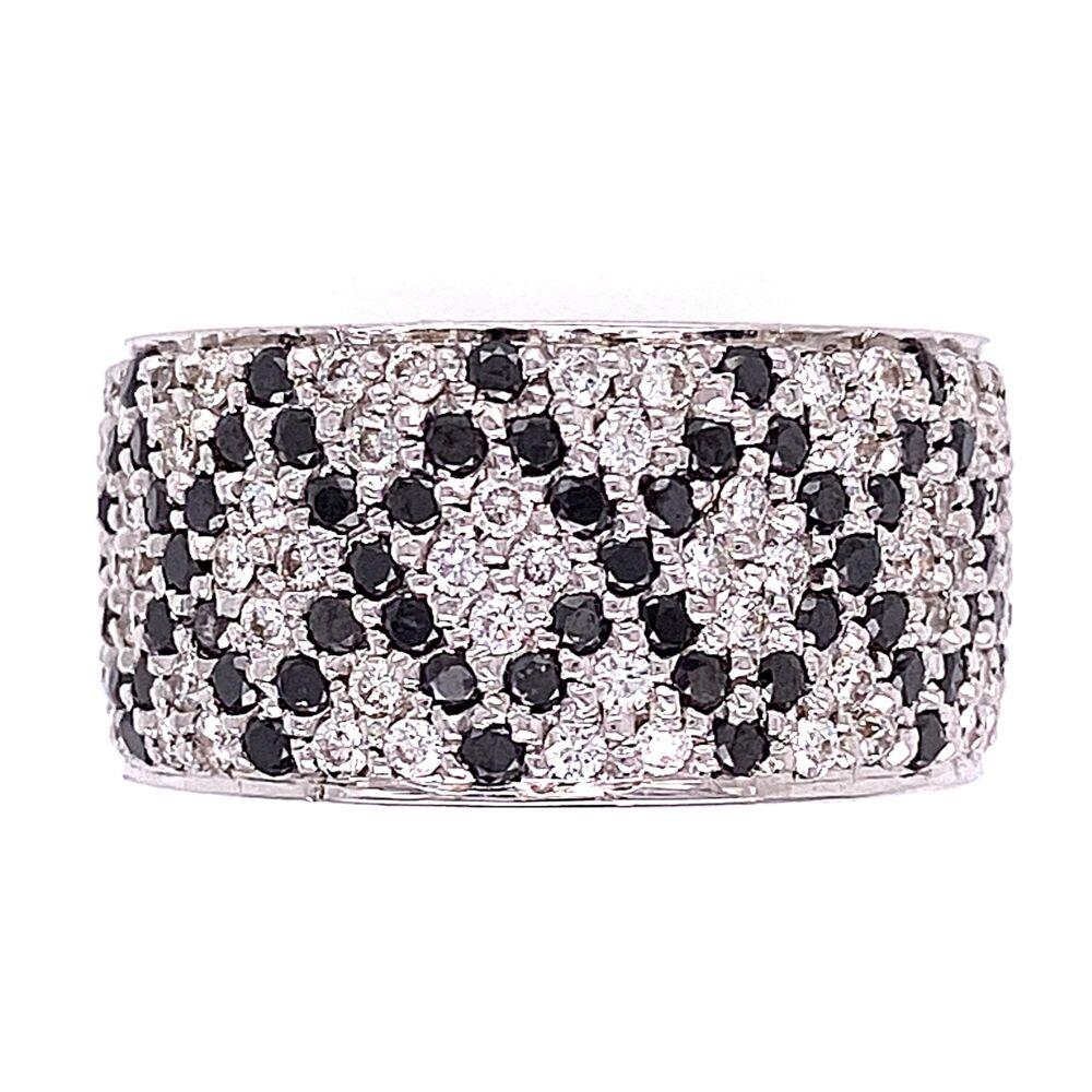 18K White Gold Wide Band Ring 2.50tcw White & Black Diamonds s6.5, 14.9g