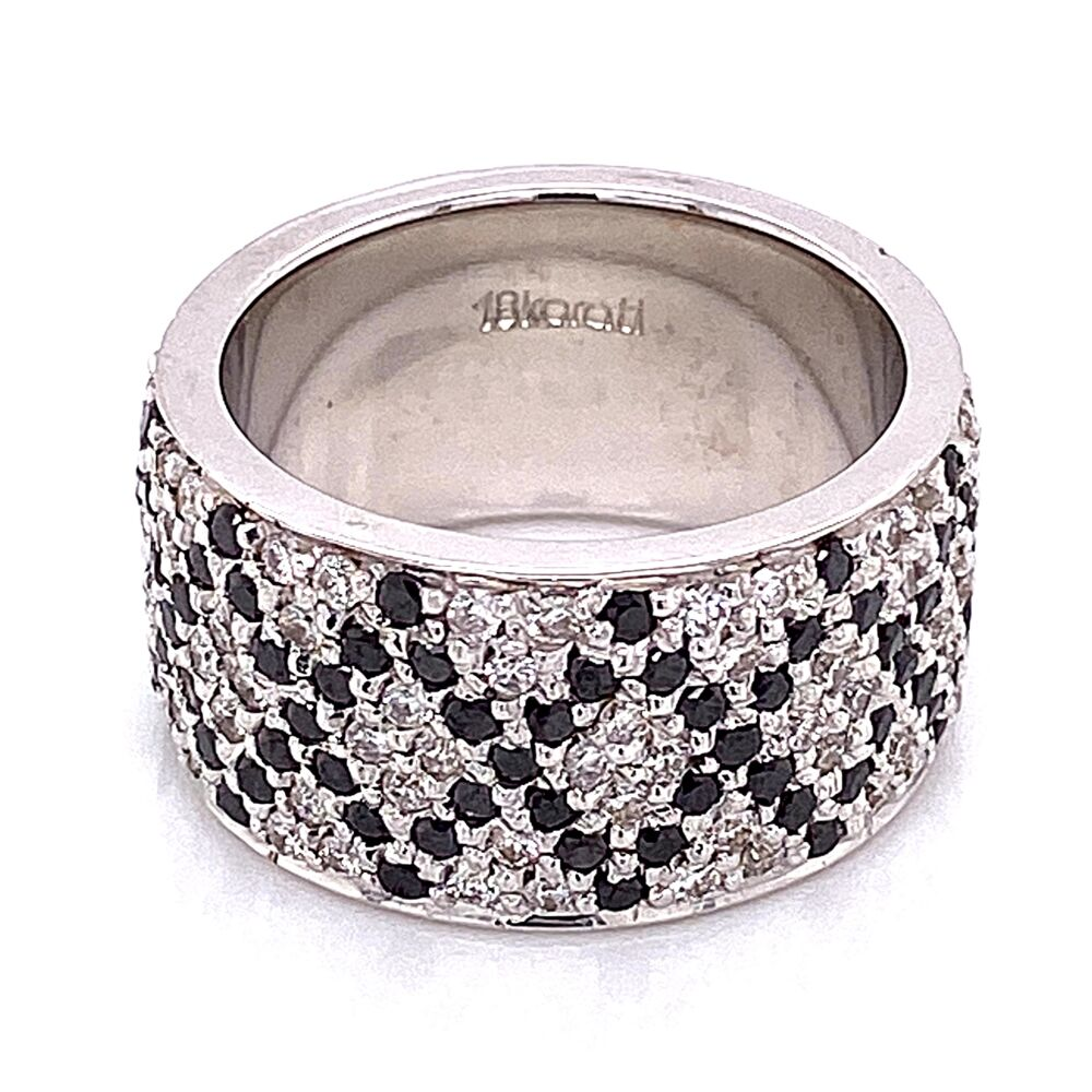 Image 2 for 18K White Gold Wide Band Ring 2.50tcw White & Black Diamonds s6.5, 14.9g