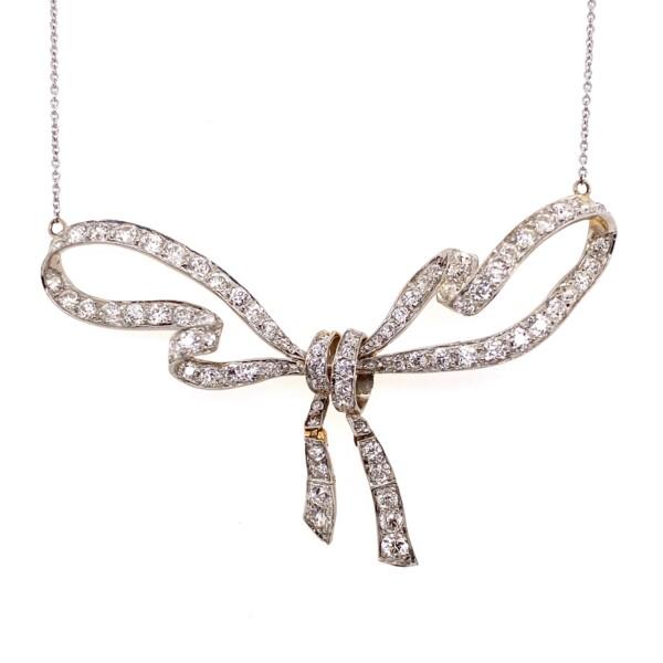 "Closeup photo of Platinum on 18K Edwardian 3.70tcw Diamond Bow Necklace 18"" Chain, c1900's"