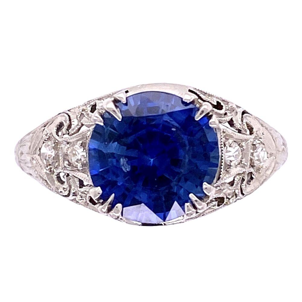 Platinum Art Deco 2.64ct Round Sapphire & .10tcw diamond Ring c1920, s6.5