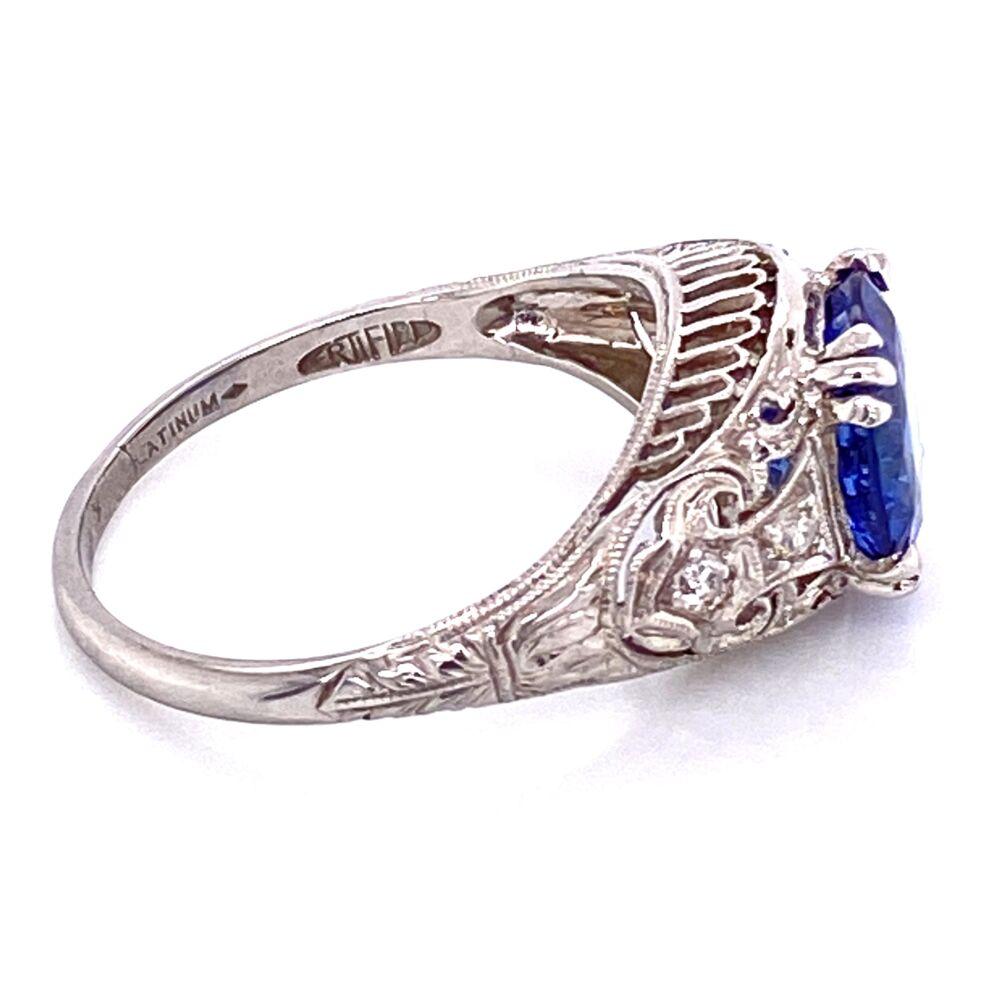 Image 2 for Platinum Art Deco 2.64ct Round Sapphire & .10tcw diamond Ring c1920, s6.5