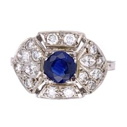 Closeup photo of Platinum Art Deco .64ct Sapphire & .52tcw diamond milgrain Ring, s6.75