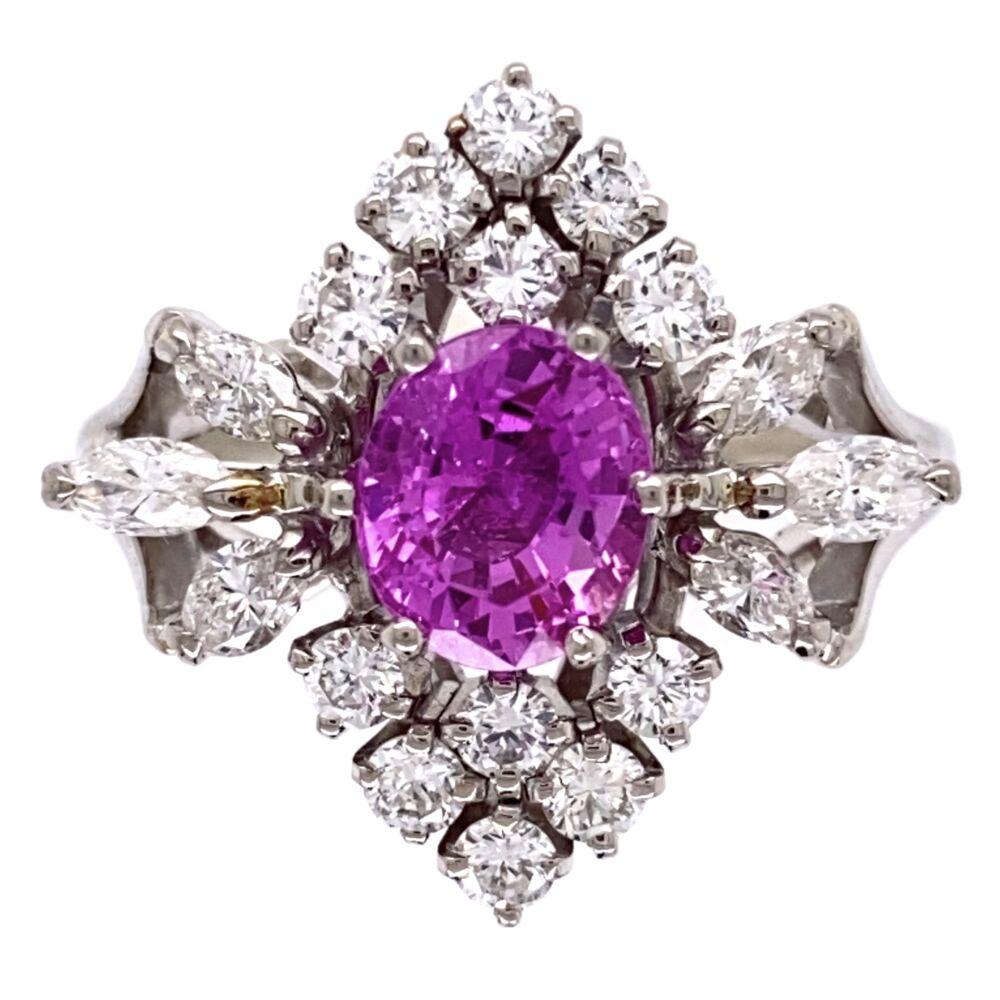 18K White Gold 1.25ct Pink Sapphire & .90tcw diamond Ring c1960's, s6