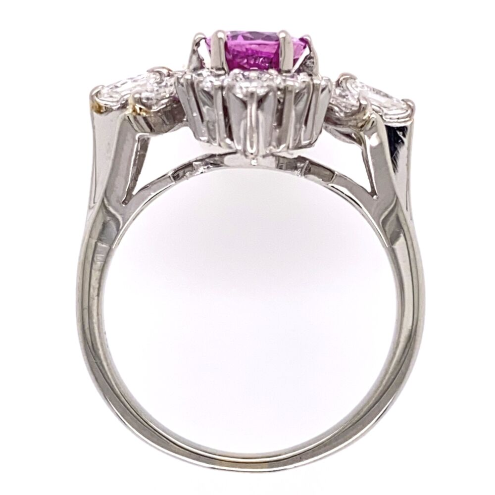 Image 2 for 18K White Gold 1.25ct Pink Sapphire & .90tcw diamond Ring c1960's, s6