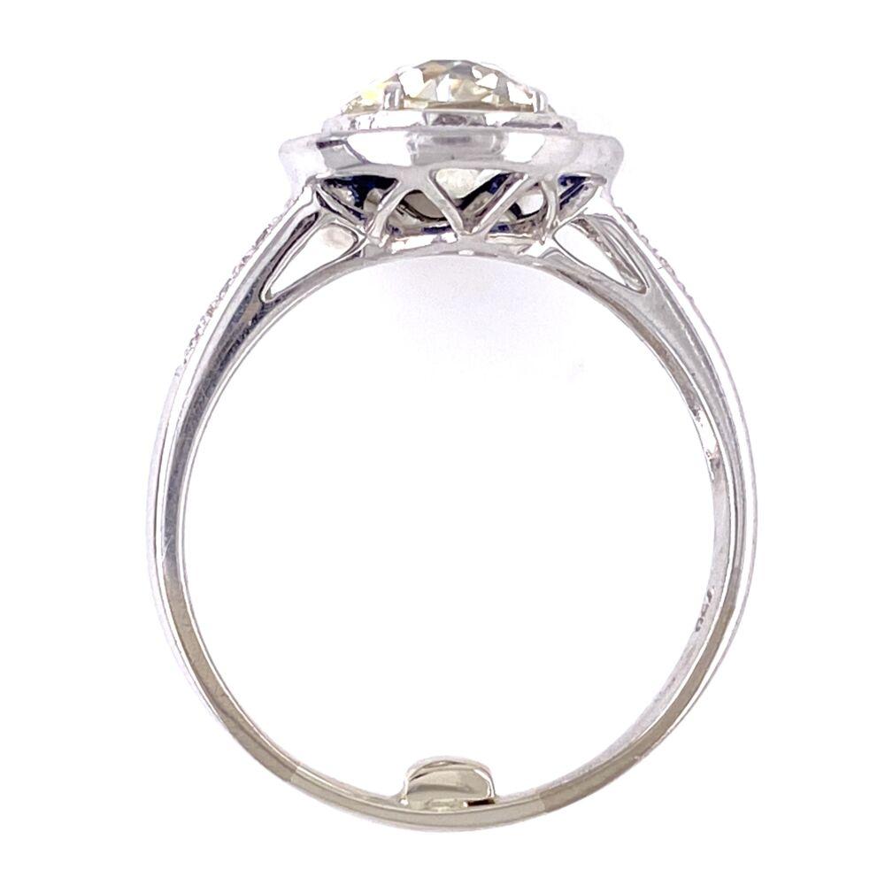 Image 2 for 18K White Gold Art Deco 1.36ct OEC Diamond, .35tcw sapphire halo & .10tcw side diamonds s7