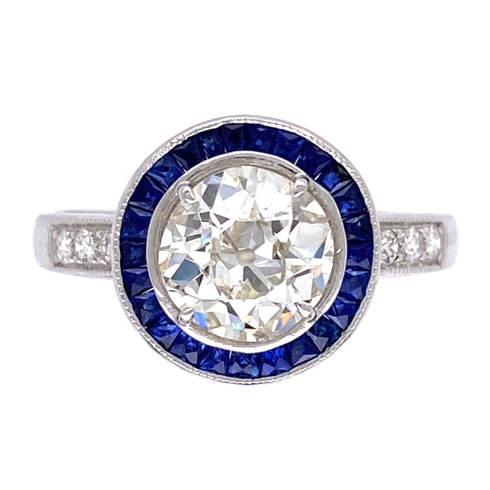 18K White Gold Art Deco 1.36ct OEC Diamond, .35tcw sapphire halo & .10tcw side diamonds s7