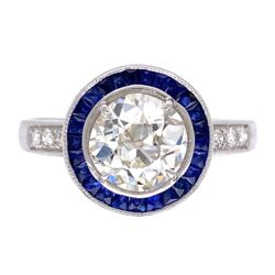 Closeup photo of 18K White Gold Art Deco 1.36ct OEC Diamond, .35tcw sapphire halo & .10tcw side diamonds s7