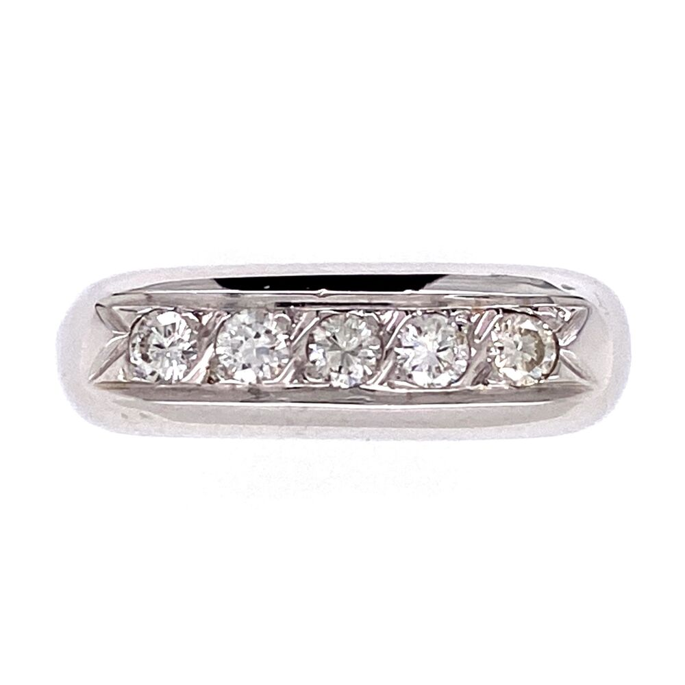 18K White Gold Dome 5 Diamond Band Ring .35tcw Euro Shank, 4.6g, s6.5