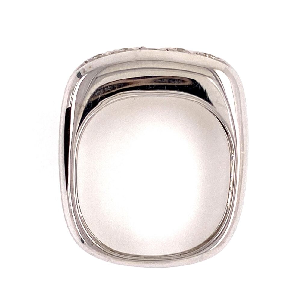 18K White Gold Dome 5 Diamond Band Ring .35tcw Euro Shank, 4.6g, s6.5