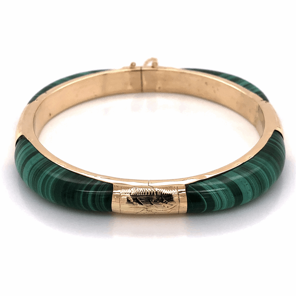 14K Yellow Gold Malachite Bangle Bracelet c1960's, 26.3g
