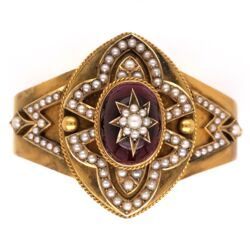 Closeup photo of 14K Yellow Gold Victorian Bangle Bracelet Large Cab Garnet inlayed with Pearls & Seed Pearls around 33.7g