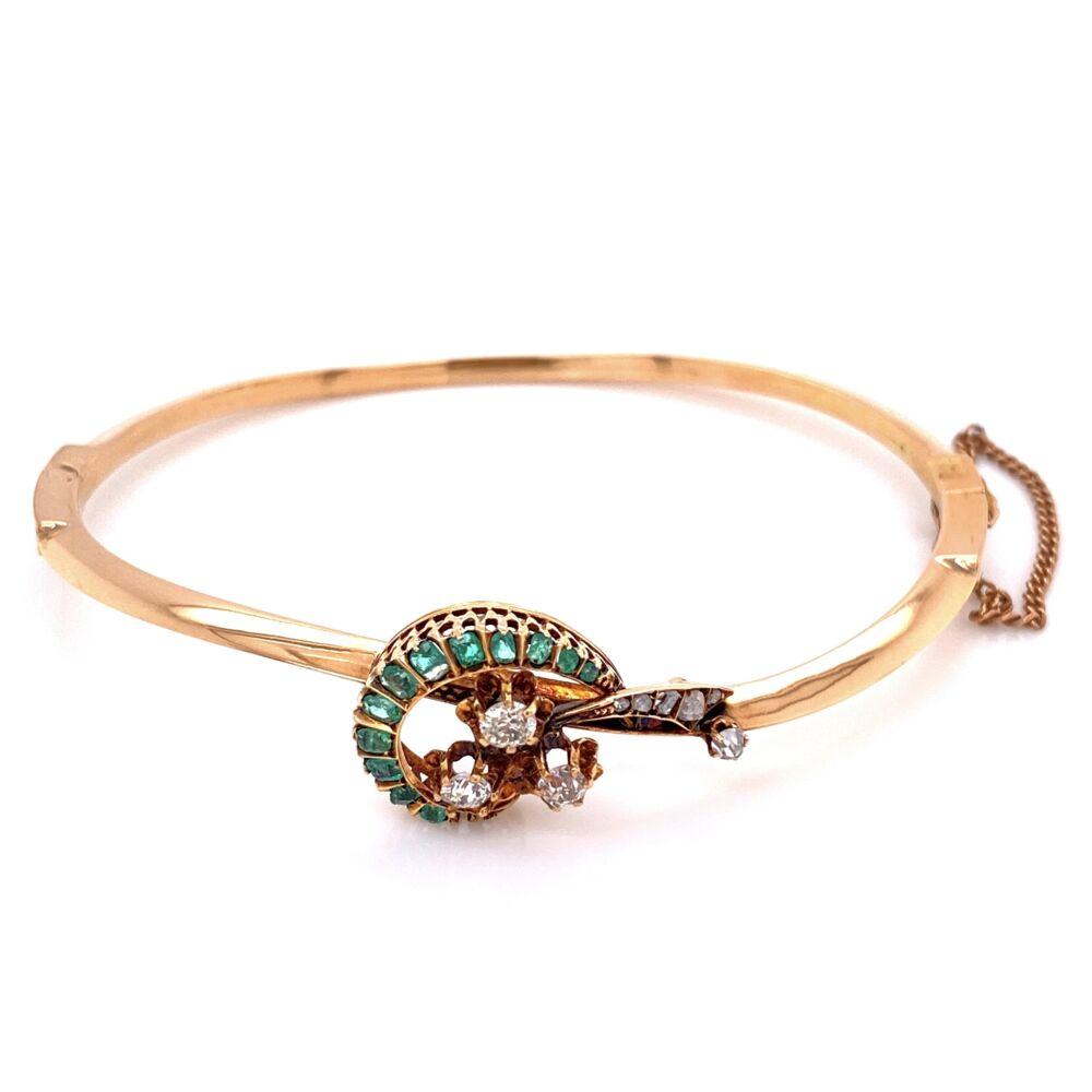 18K Yellow Gold Victorian .57tcw Diamonds & .50tcw Emeralds bangle Bracelet, c1870's