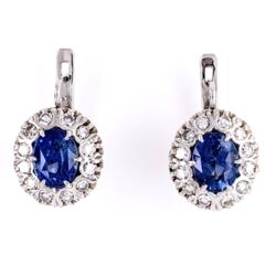 "Closeup photo of 18K White Gold 3.20tcw Sapphire & .80tcw Diamond ""Princess Diana"" Earrings"