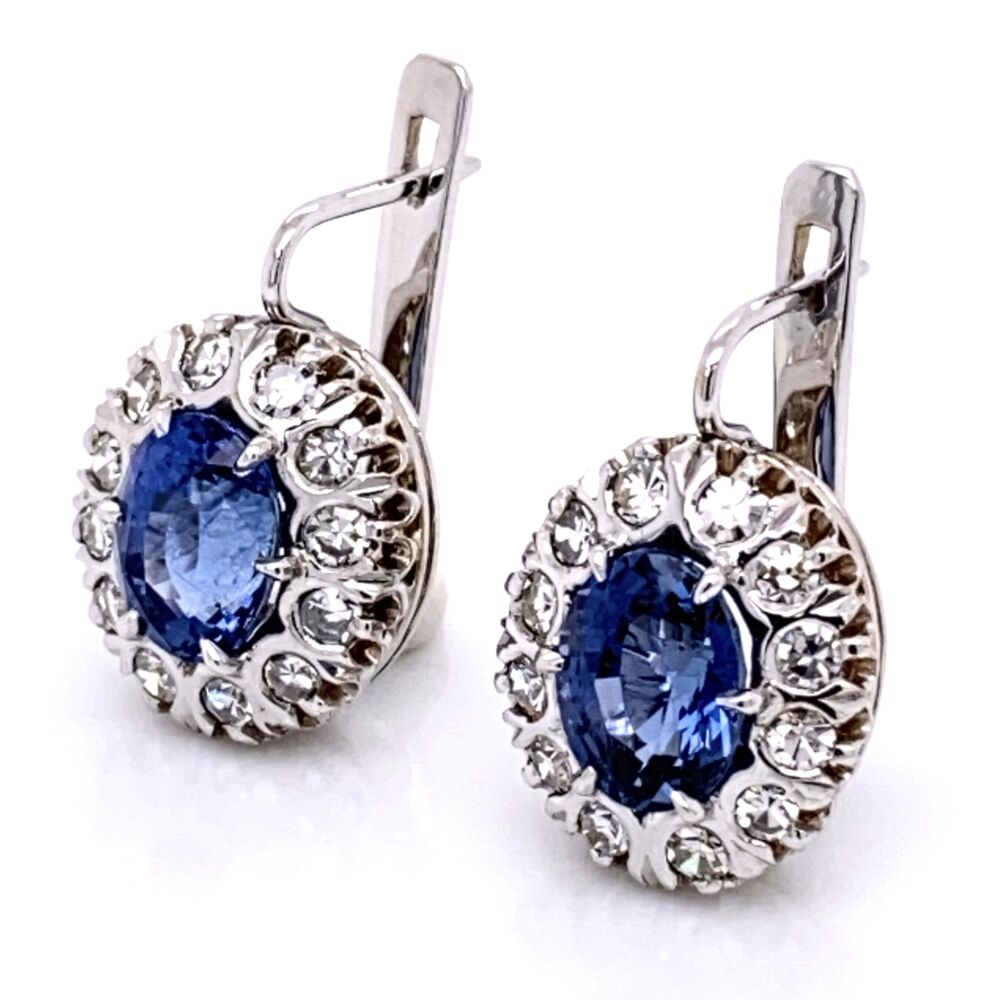 "Image 2 for 18K White Gold 3.20tcw Sapphire & .80tcw Diamond ""Princess Diana"" Earrings"