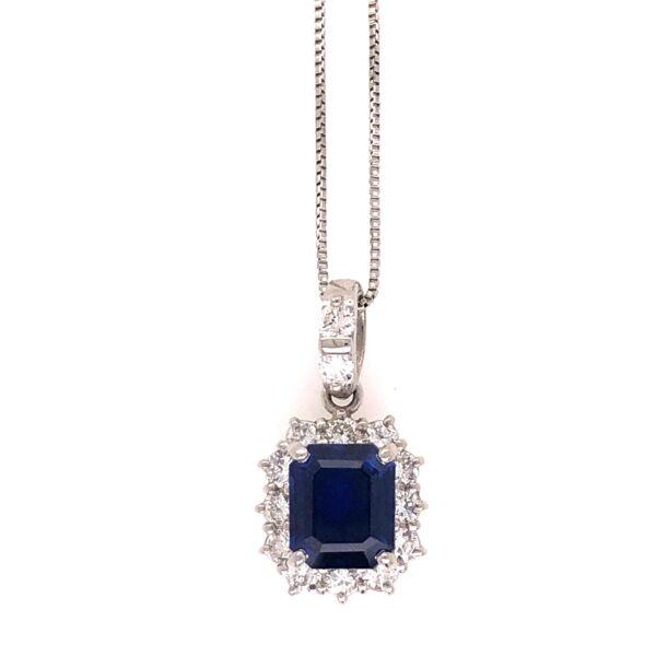 "Closeup photo of Platinum 850 1.35ct Emerald Cut Sapphire & .43tcw Diamond Necklace 18"""