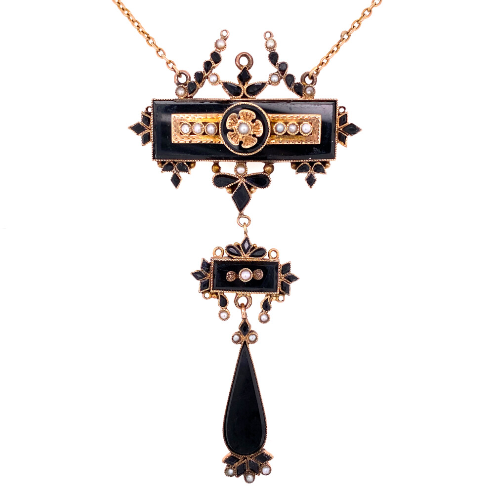 """Image 2 for 10K Yellow Gold Victorian Mourning Necklace Onyx, Seed Pearl, c1860's 3"""" tall drop, 14.5"""" chain"""