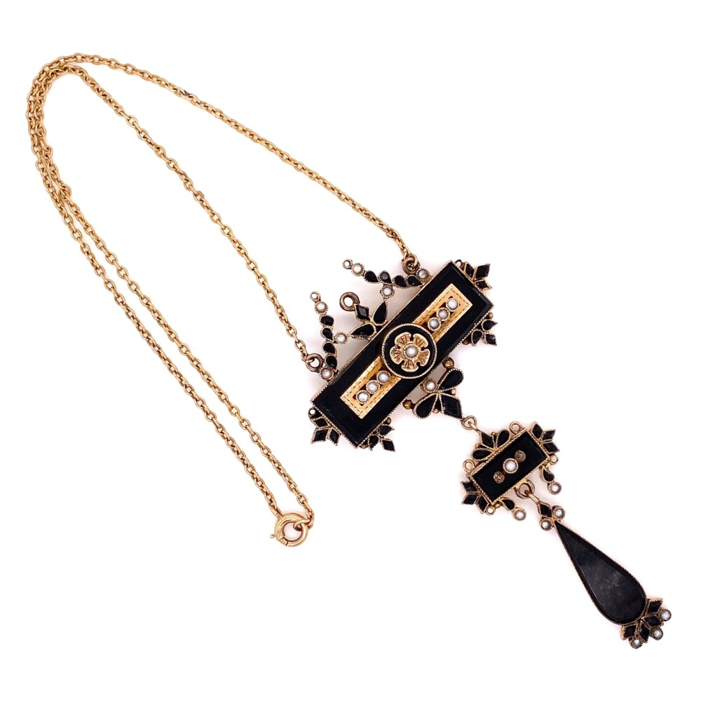 """10K Yellow Gold Victorian Mourning Necklace Onyx, Seed Pearl, c1860's 3"""" tall drop, 14.5"""" chain"""