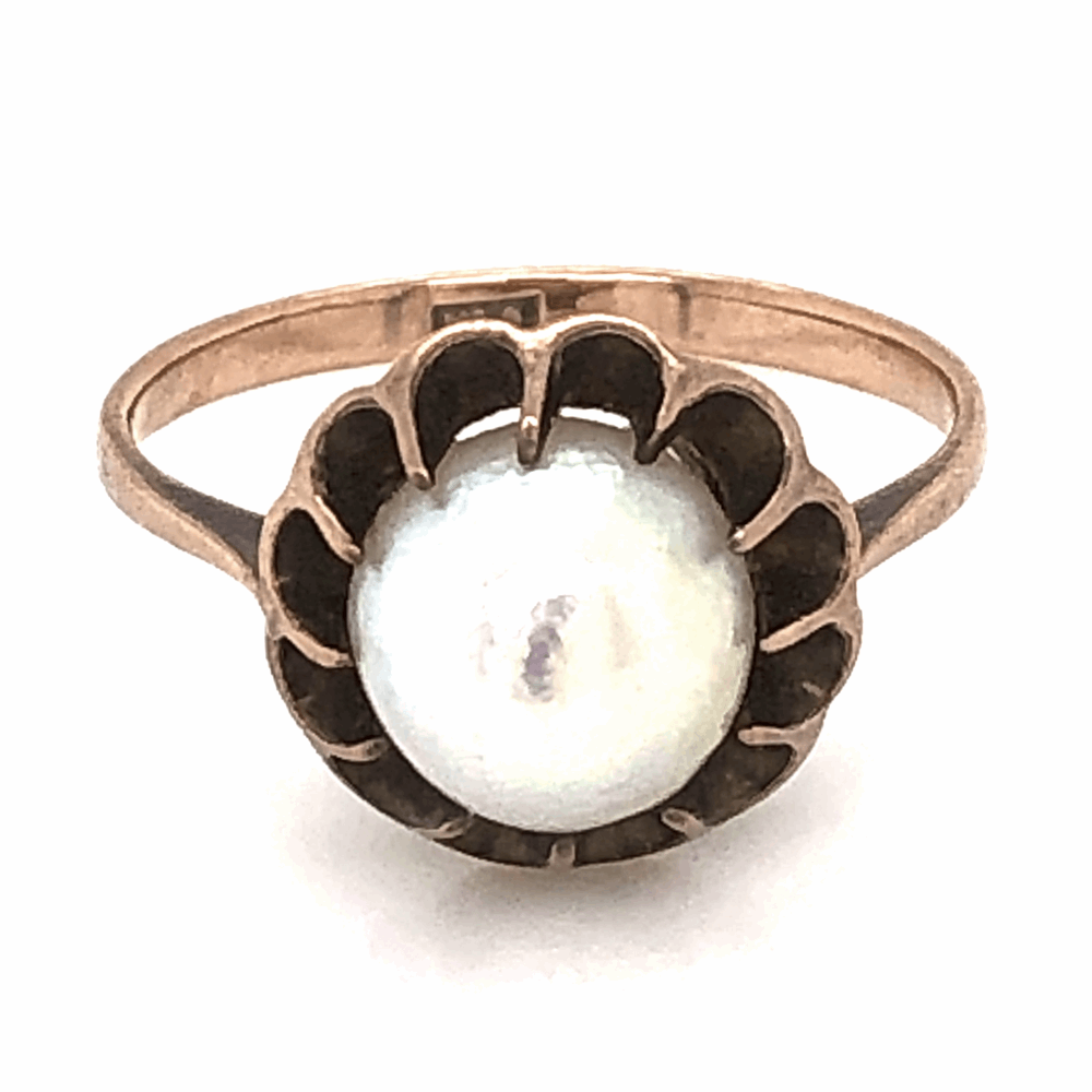 9K Yellow Gold Victorian Natural Pearl Ring 2.4g, s6