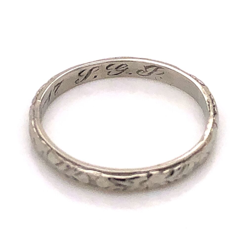 Image 2 for 18K White Gold Art Deco Engraved Wedding Band Ring c1917, 1.7g, s5.5