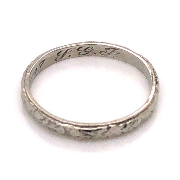 Closeup photo of 18K White Gold Art Deco Engraved Wedding Band Ring c1917, 1.7g, s5.5