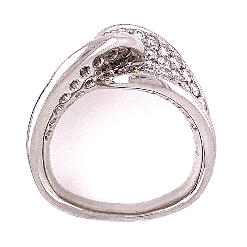 Image 2 for Platinum 900 Twisted Pave Diamond Ring 1.58tcw European Shank 16.1g, s5.75