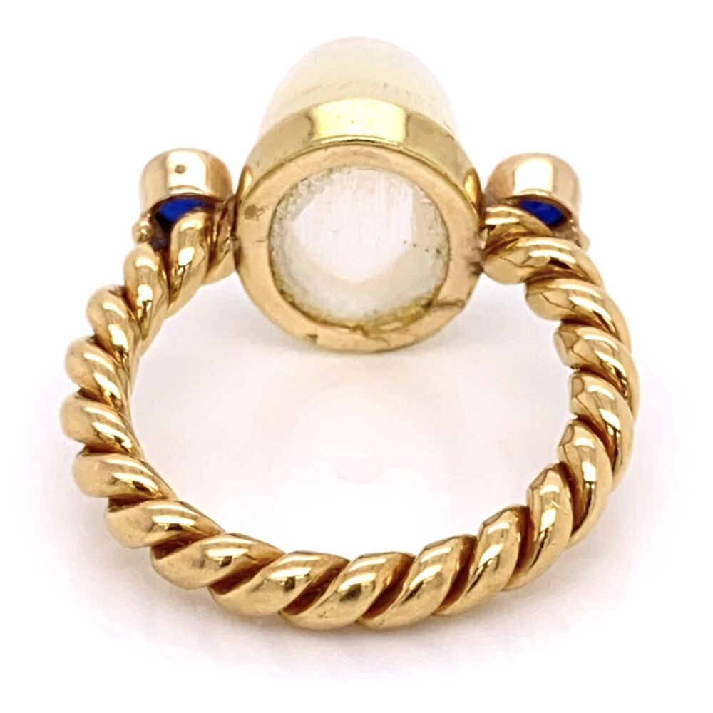 Image 2 for 18K Yellow Gold Rope Shank 5ct Cabochon Moonstone & .40tcw Sapphire Ring 8.6g, s7