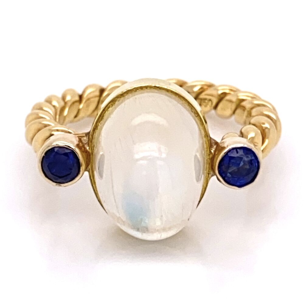18K Yellow Gold Rope Shank 5ct Cabochon Moonstone & .40tcw Sapphire Ring 8.6g, s7