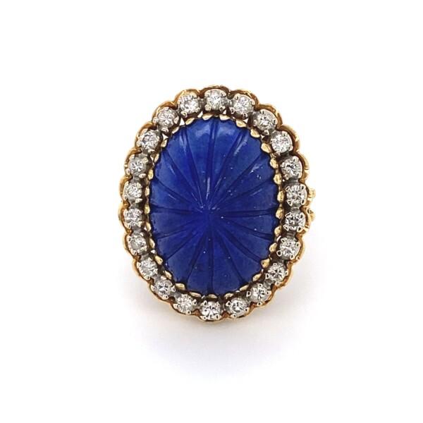 Closeup photo of 18K Yellow Gold Carved Cabochon Lapis Lazuli & .45tcw diamond Ring 9.3g, s5.25