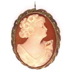 """Closeup photo of 10K Rose Green Gold Weave Shell Cameo Brooch Pendant 1.5"""" tall 7.4g"""