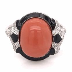 Closeup photo of Platinum Art Deco 5.81ct Oval Cabochon Coral, Black Enamel & .32tcw Diamond Ring 6.5g, s6.75